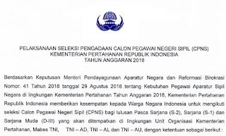 Formasi Kementerian Pertahanan CPNS 2019