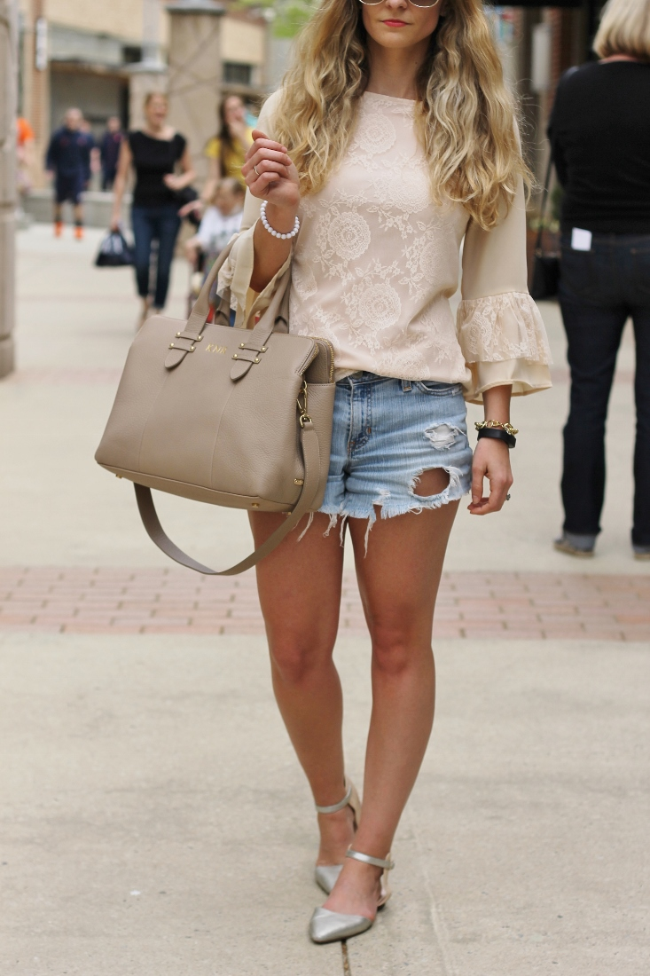 Pointed Toe flats with jean shorts