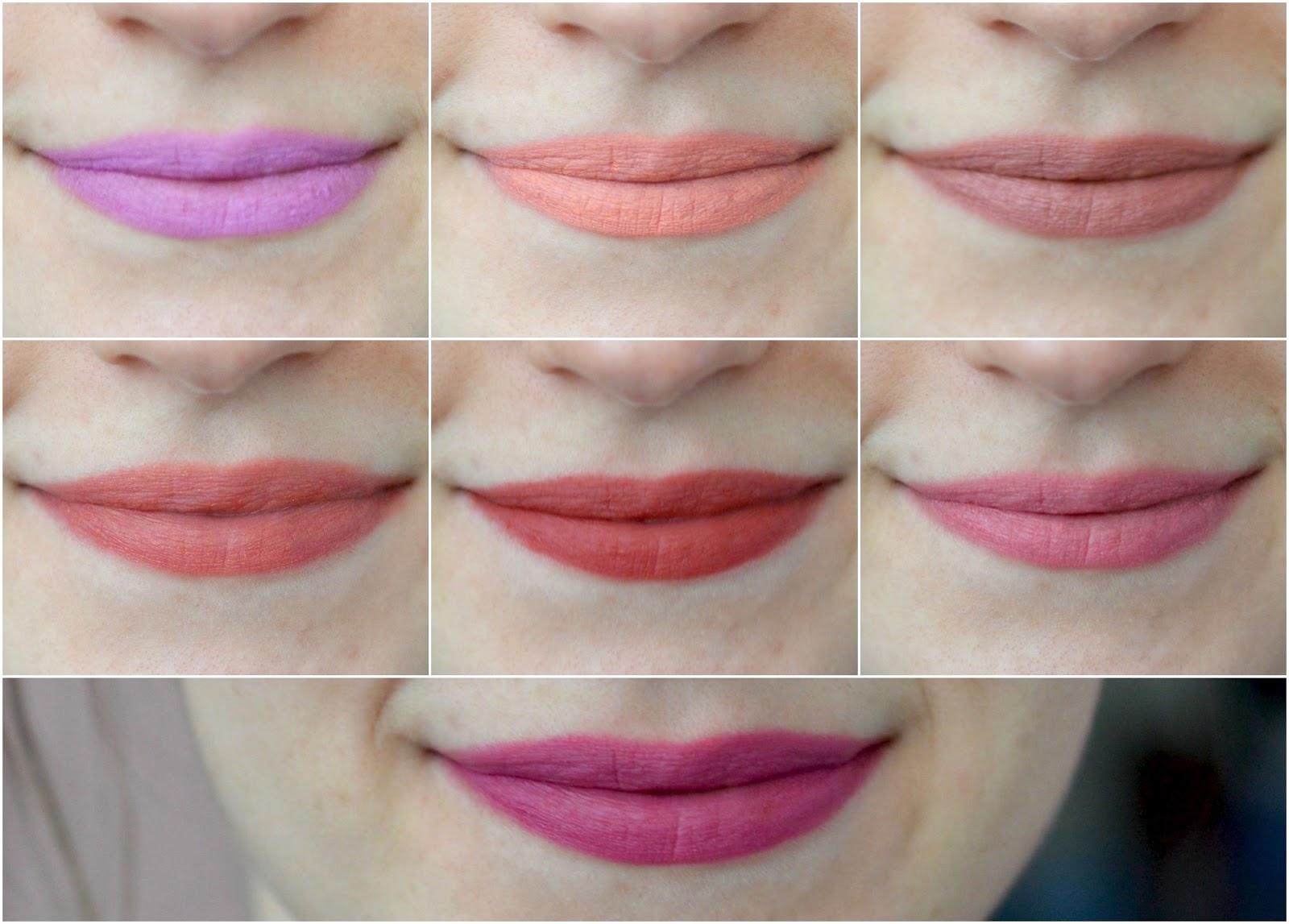 velvet lip pencil swatches
