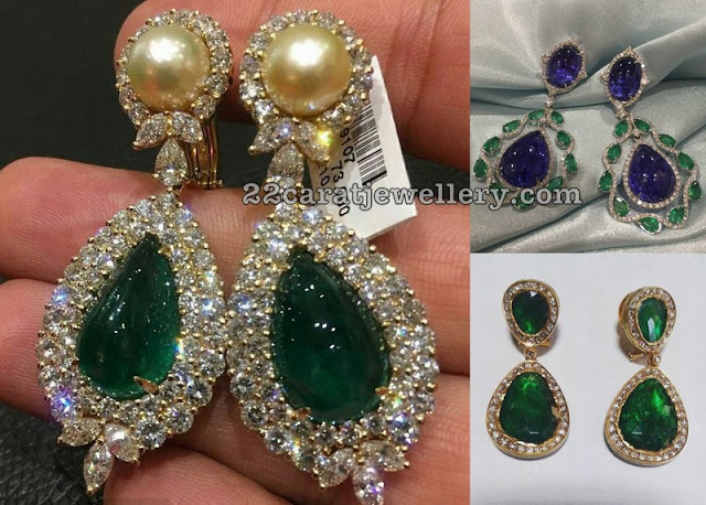 Zambian and Tanzanite Emeralds Earrings