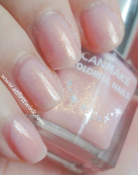 Canmake Colorful Nails number 43 light pink nail polish with gold shimmers