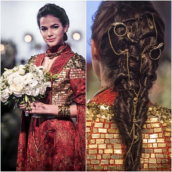 vestido de noiva e penteado catarina deus salve o rei