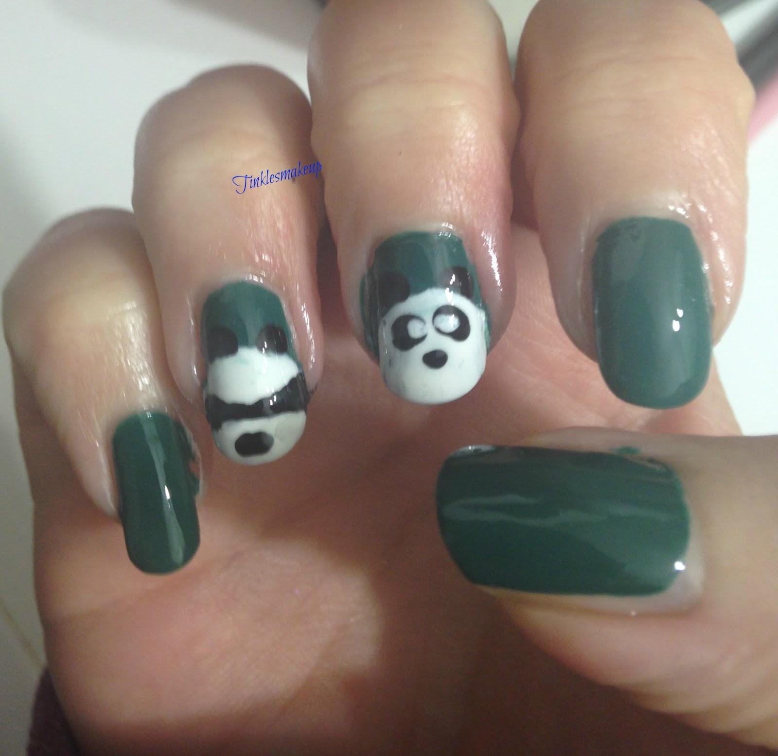 Panda Nail Art: Tinklesmakeup: Cute Panda Nail Art