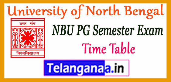 NBU University of North Bengal PG 1st 3rd Semester Time Table 2017-18