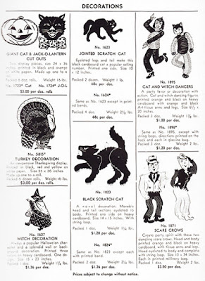 Catalog page of vintage Halloween collectibles by Beistle with witch decoration as well as pumpkins, black cats, scarecrows, etc.