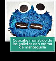 CUPCAKE MONSTRUO DE LAS GALLETAS CON CREMA DE MANTEQUILLA