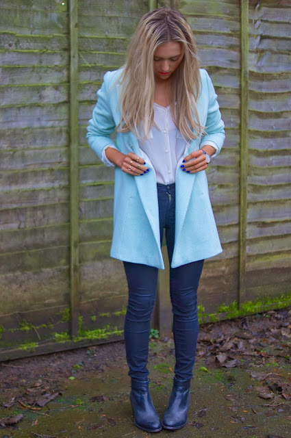 topshop mint boyfriend coat