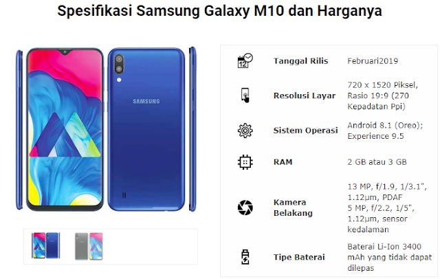 Spesifikasi dan Harga Samsung M10 Aplimuvie