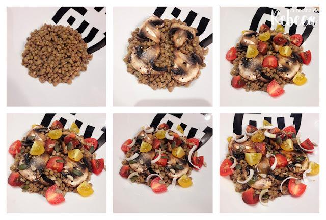 Receta de ensalada templada de lentejas con champiñones 03