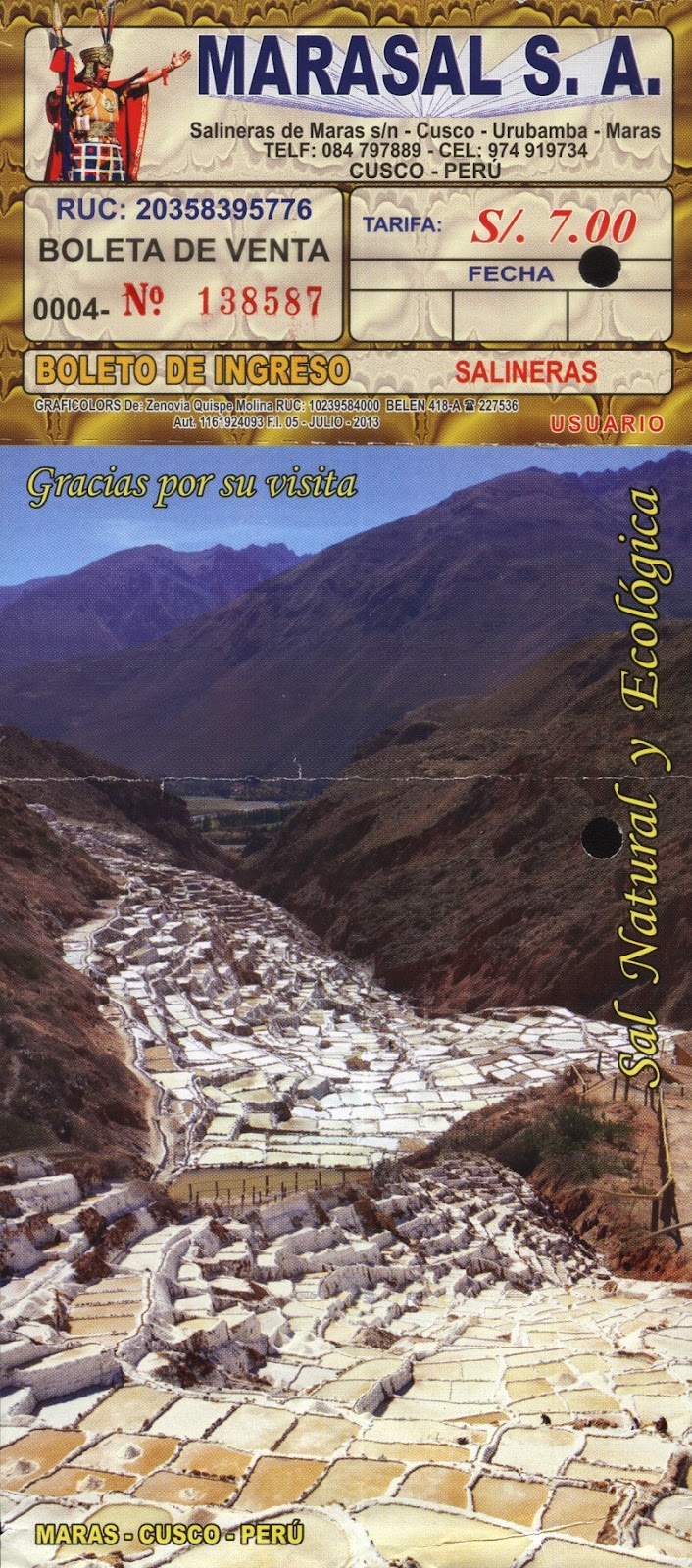 Boleto de visita para as Salineras de Maras / Peru.