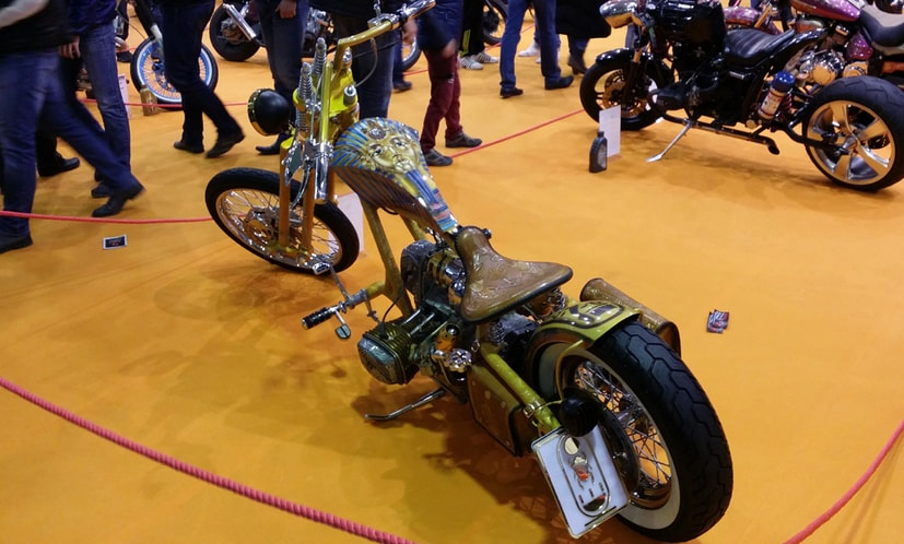 the Tutankhamun custom chopper on a biker show