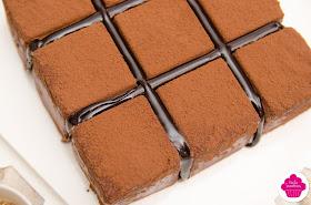 Cubik au chocolat ou Royal au chocolat version carrée ou Trianon Cubik: vue de dessus