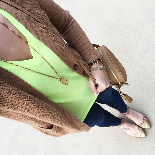 yellow tee, kendra scott, cardigan,