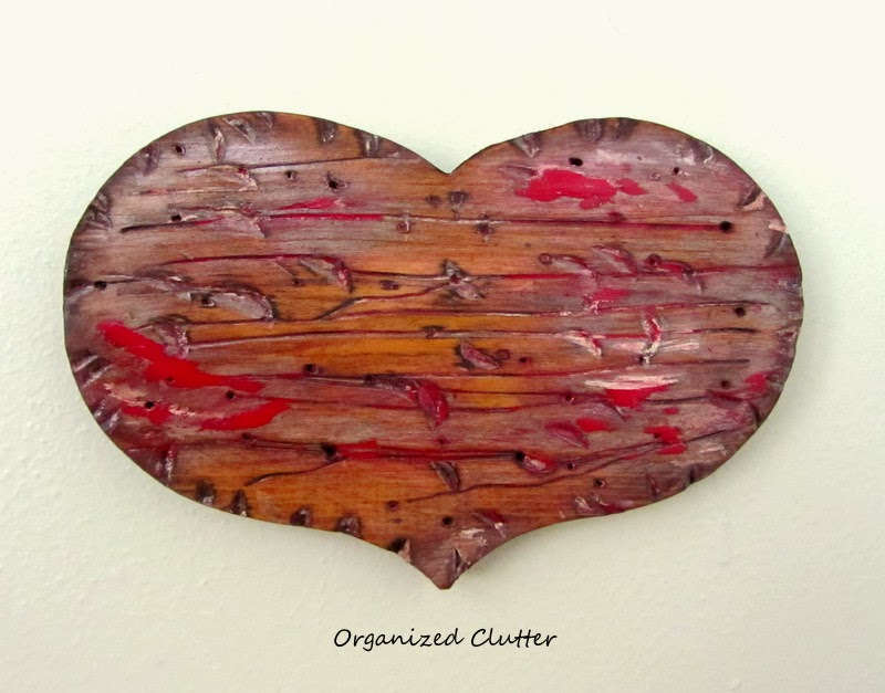 Thrift Shop Country Wood Hearts Become Faux Reclaimed Wooden Hearts www.organizedclutterqueen.blogspot.com