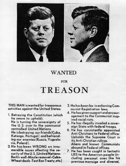 Flyer distributed in Dallas, Texas by Robert Surrey and Edwin Walker of the John Birch Society, a few days before the assassination of John F. Kennedy (November 1963)