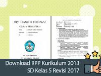 Download RPP Kurikulum 2013 SD Kelas 5 Revisi 2017
