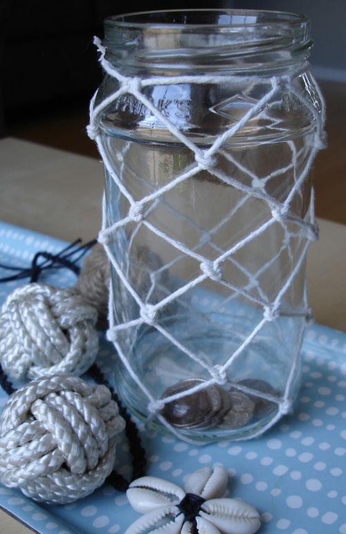 fishing net coin jar