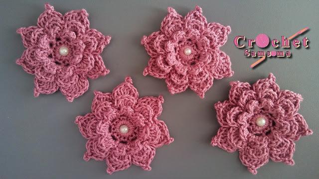 كروشيه وردة طبقات ب 8 بثلات . كروشيه وردة . How to Crochet flower 3d 8 petals  .  How to Crochet a flower  . كروشيه وردة طبقات . كروشيه وردة بعدة طبقات .   Crochet flower tutorial .