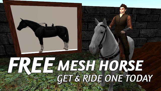 Free Mesh Horse In Second Life • Get One & Ride One Today