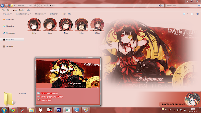 Windows 7 Theme Tokisaki Kurumi - Date A Live by Bashkara