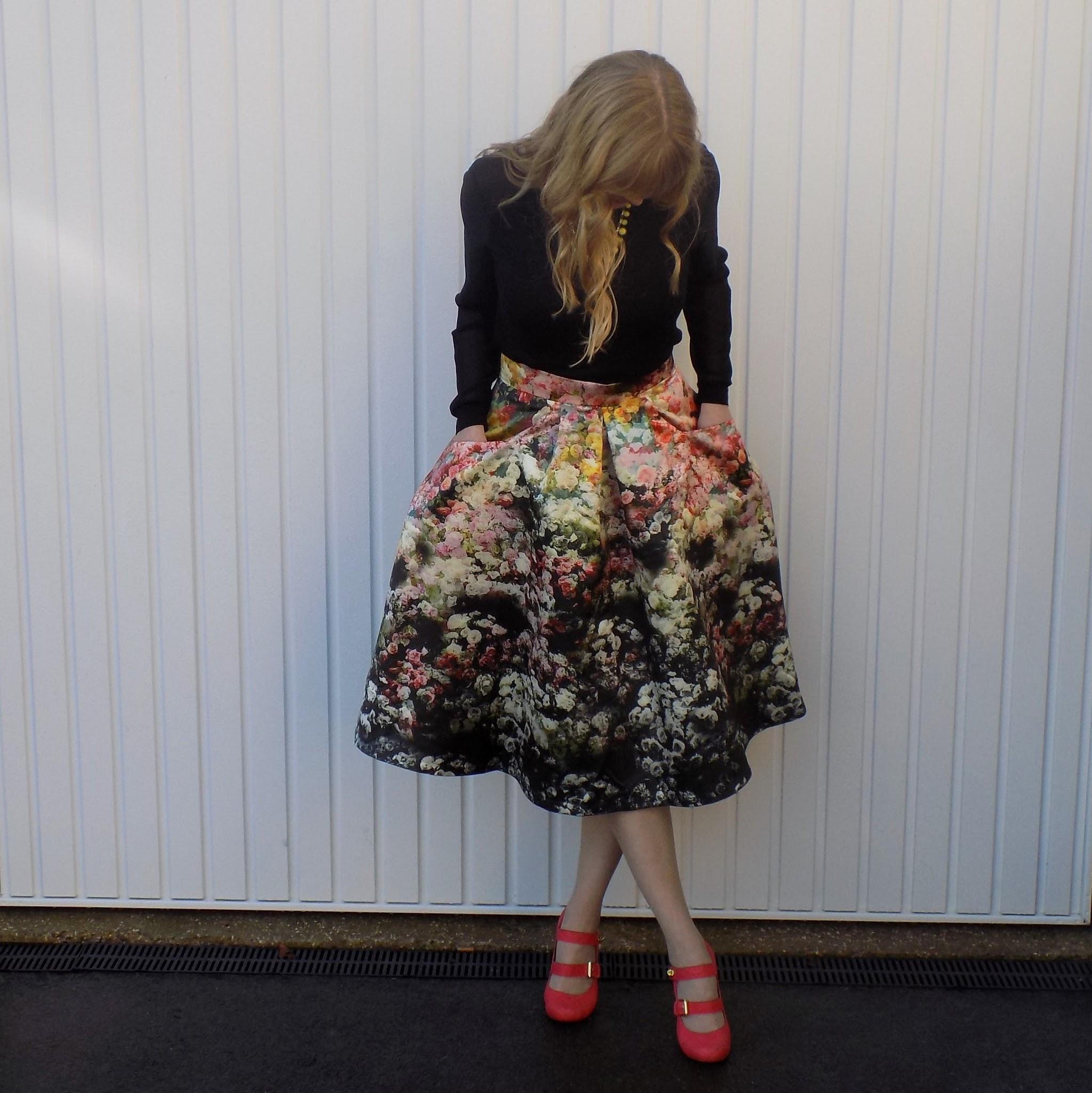 Joile Moi floral midi skirt