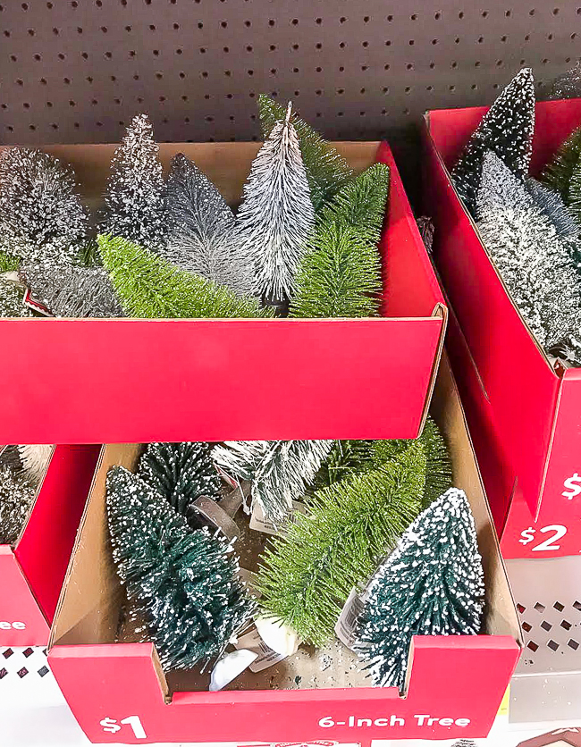 Assorted bottle brush trees from Walmart