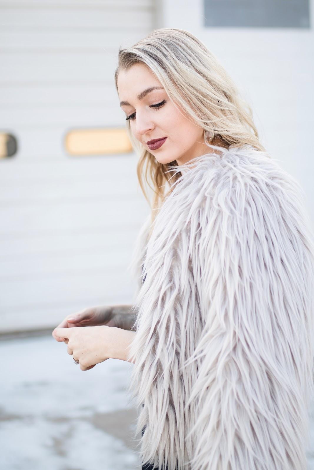 gray faux fur jacket