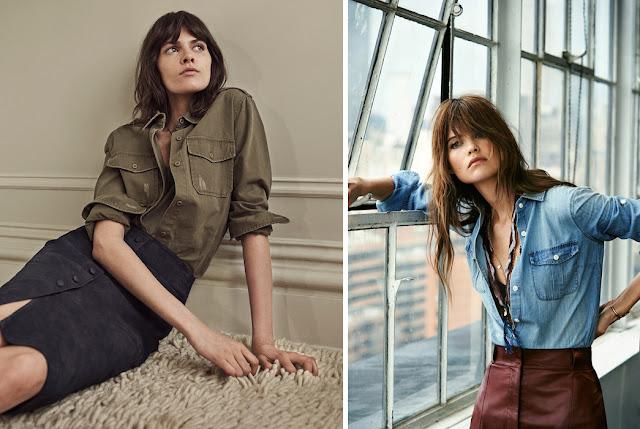 Джинсовые рубашки женские с карманами цвета хаки и голубая для натурала