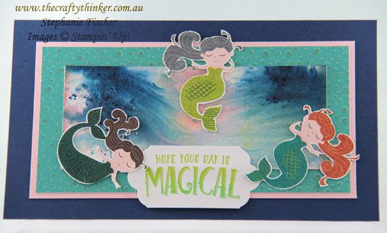 #thecraftythinker, #cardmaking, #stampinup, #brusho, Myths & Magic, Brusho background, Mermaids, Stampin Up! Australia Demonstrator, Stephanie Fischer, Sydney NSW