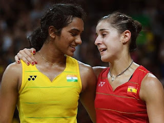 PV Sindhu and Carolina Marin after the Olympic gold match