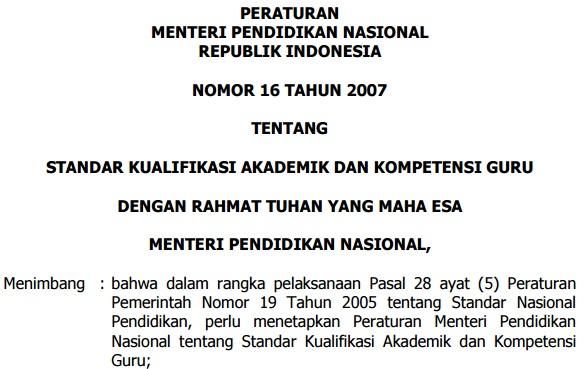 Permendiknas Nomor 16 Tahun 2007 tentang kualifikasi dan kompetensi guru