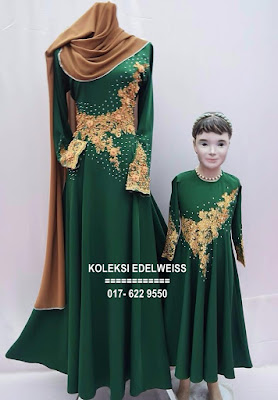 DRESS SET IBU ANAK  WARNA EMERALD GREEN
