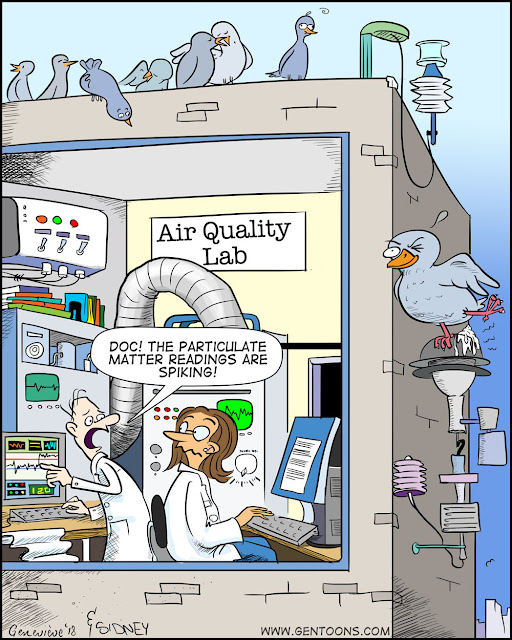 "At an Air Quality Lab: the scientist says ""Doc!  The Particulate matter reading is spiking!"" while outside, a pigeon poops on the monitor."