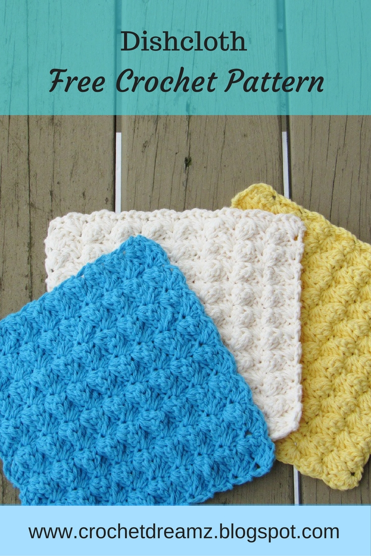 Free Knitting Pattern Dishcloths Using Size 8 Needles : Crochet Dreamz: Dishcloth or Washcloth Crochet Pattern, Free Crochet Pattern