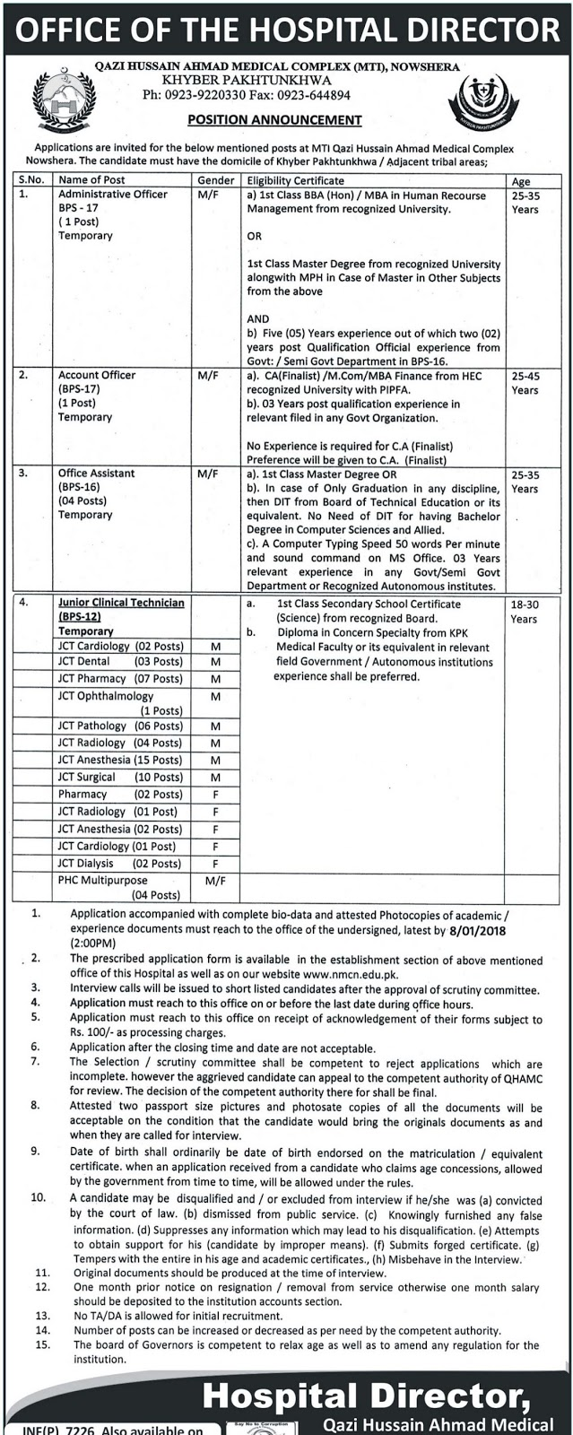 Jobs In Qazi Hussain Ahmed Medical Complex Nowshera Dec 2017