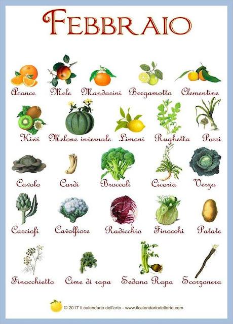 Frutta e verdura che si trovano in
