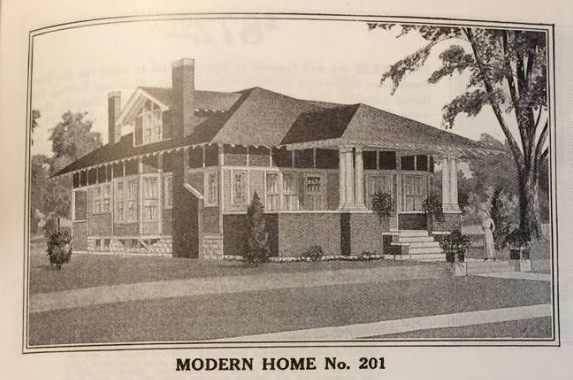 catalog image from the 1914 Sears Modern Homes catalog-- Sears No. 201, later called the Hawthorne