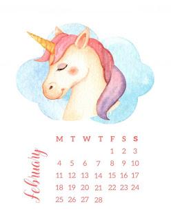 Unicornios: Calendario 2019 para Imprimir Gratis.