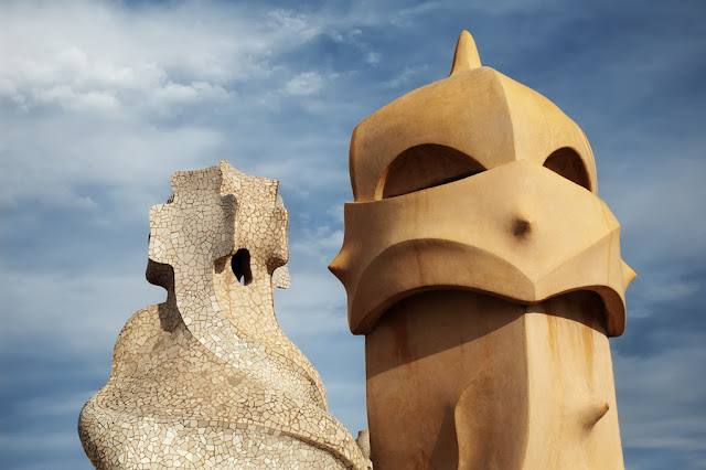 Amazing Chimneys on the roof of Casa Mila or La Pedrera building by Antoni Gaudi