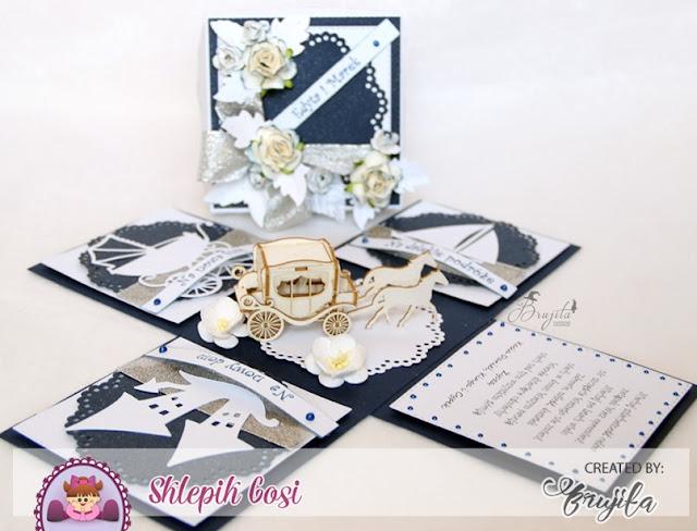 pomysł na prezent ślubny, co na ślub, kartka ślubna, wedding day, exploding box z karetą, wedding card
