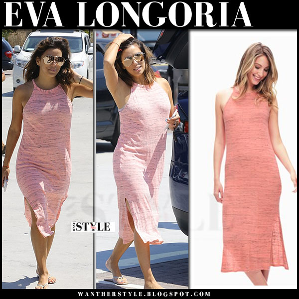 Eva Longoria in pink peach midi summer dress splendid what she wore