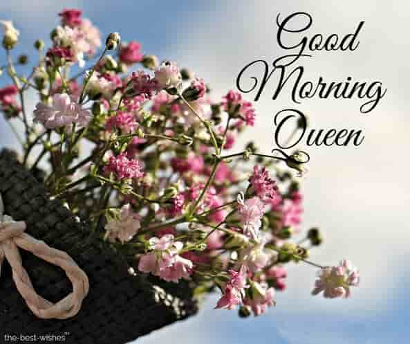 good morning my queen image with bouquet