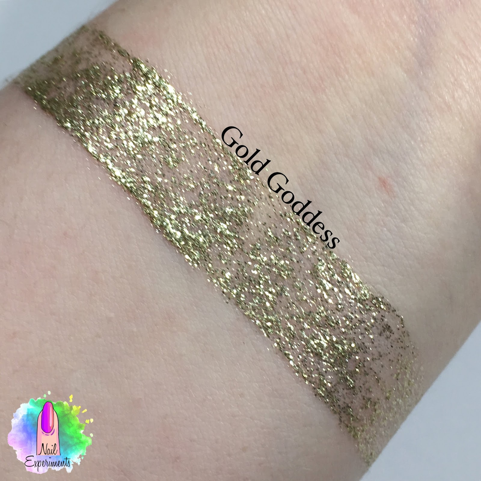Stila magnificent metals glitter and glow liquid eye shadow swatch in golden goddess