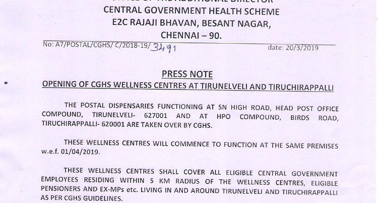 CGHS - Wellness Centres at Tirunelveli and Tiruchirappalli | Param