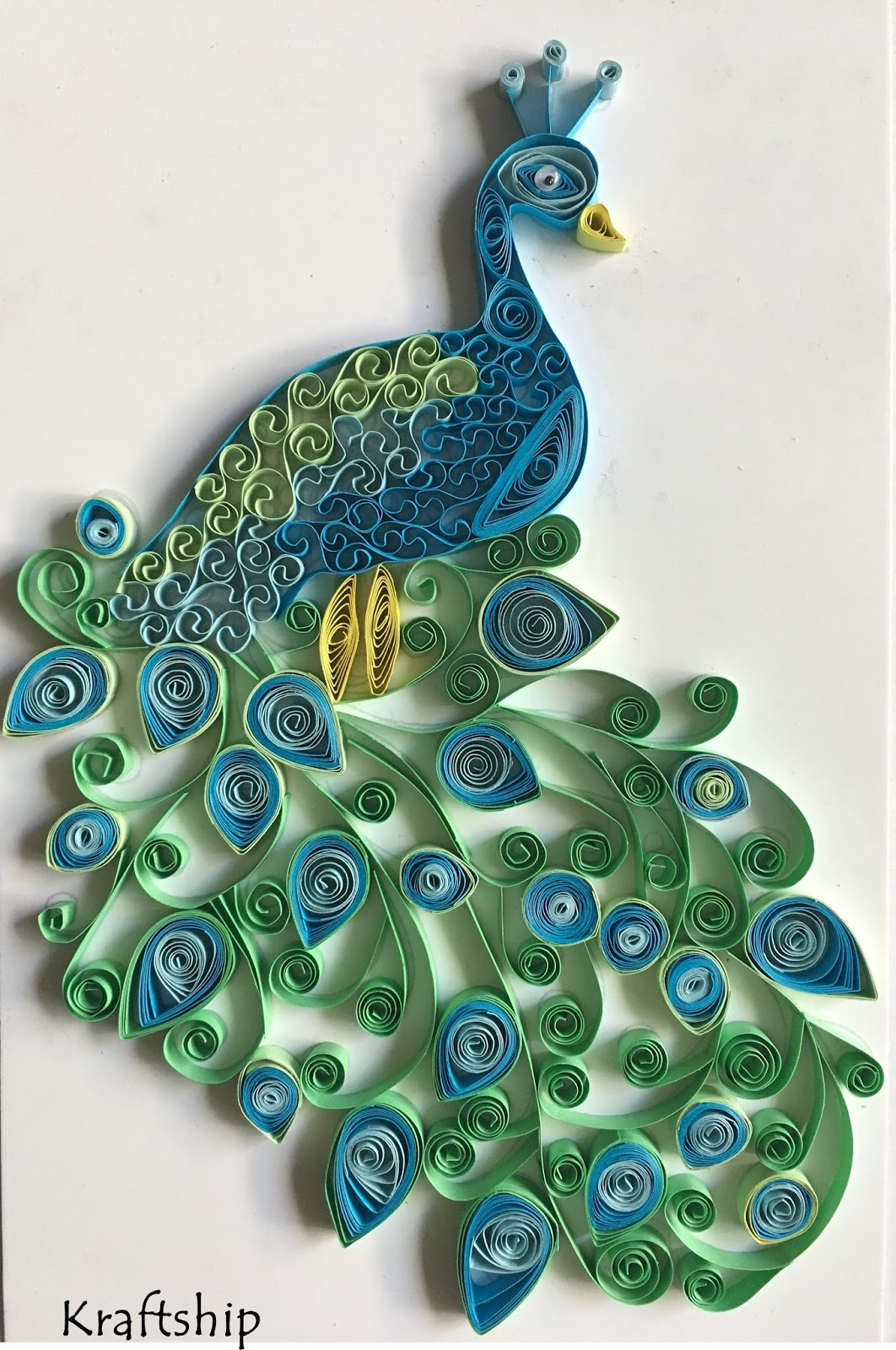 How to create Beautiful Peacock Paper Quilling Wall Art? & Kraftship: How to create Beautiful Peacock Paper Quilling Wall Art?