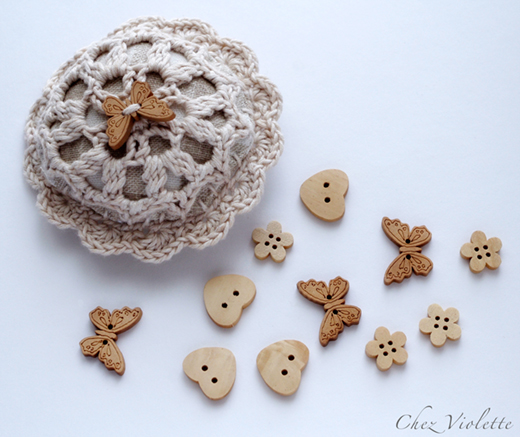 wood buttons pincushion pin cushion by Chez Violette