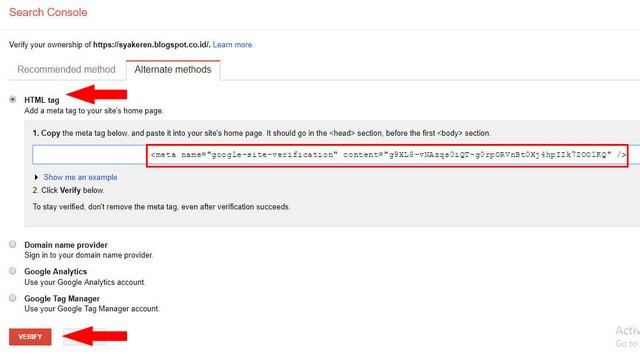Verifikasi Blog ke Google Webmaster Tools