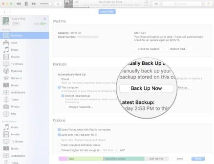 Backup data iPhone atau iPad secara manual ke iTunes