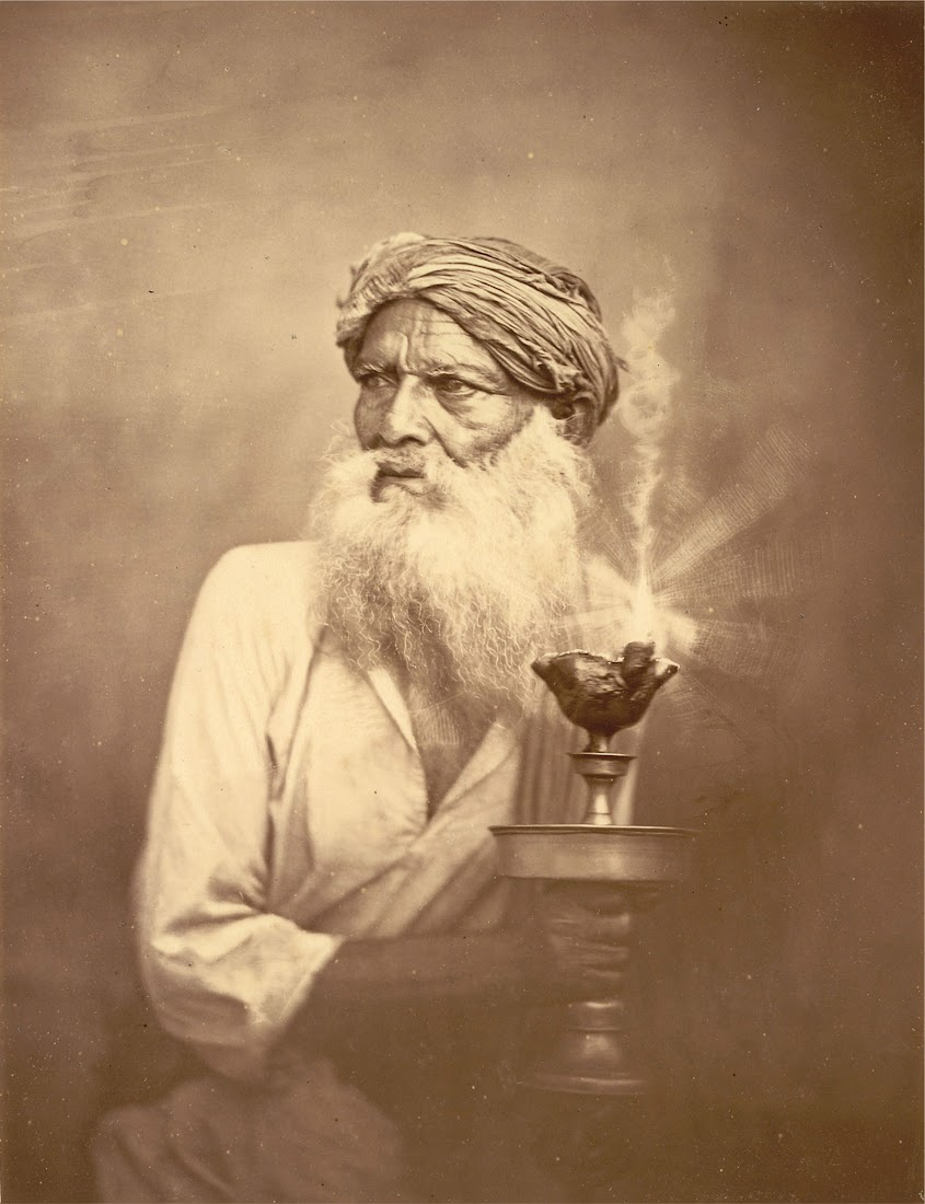 Portrait of an Old man with a lamp - Eastern Bengal 1860's