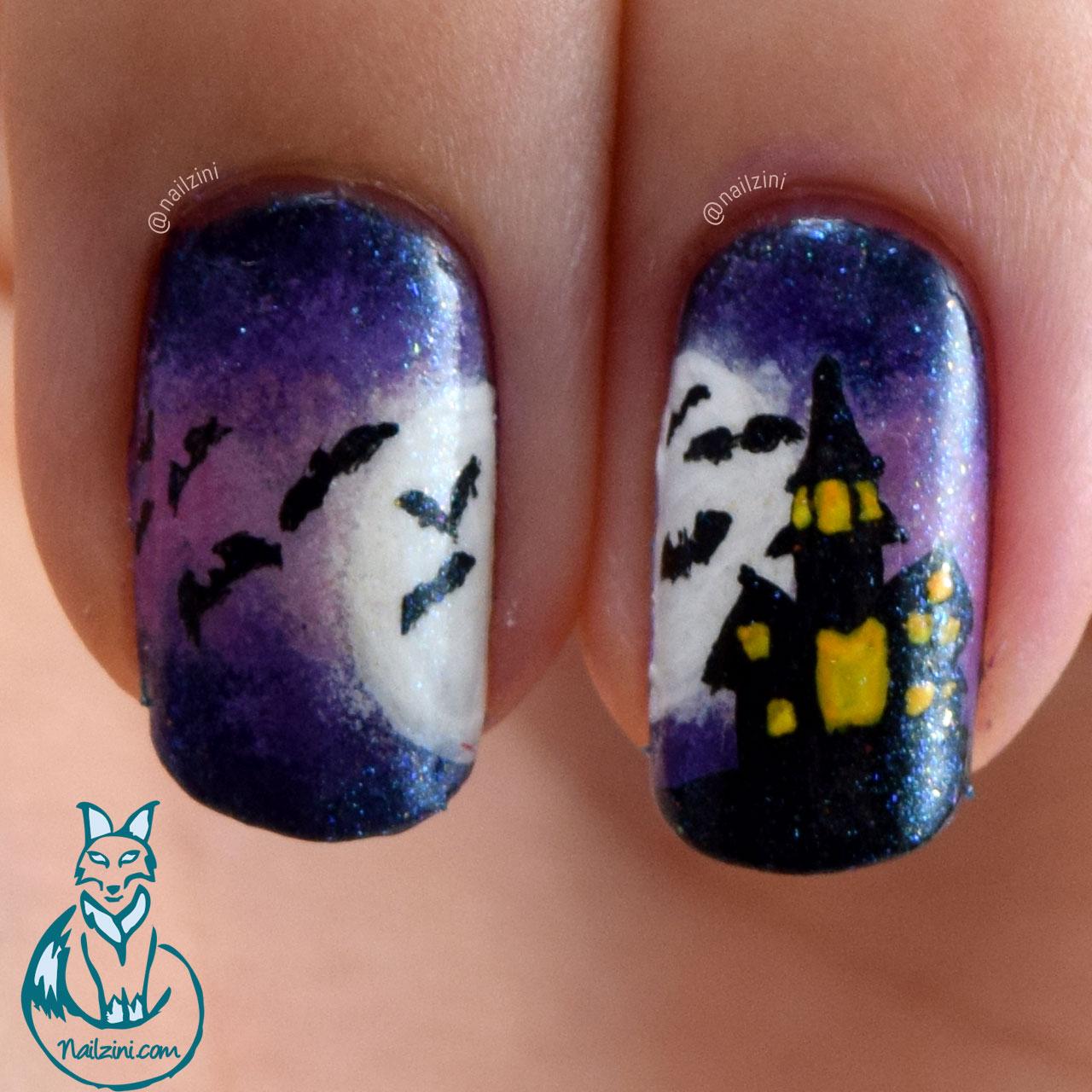 Halloween House with Bats Nail Art